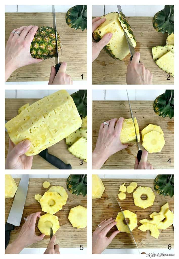 A six photo collage showing how to cut the pineapple into rings. Photo one, cutting the bottom off of a pineapple. Photo two, slicing the skin off the pineapple. Photo three, the pineapple with all the skin removed. Photo four, slicing the pineapple into 1/4 inch rings. Photo five, using a paring knife to cut the core out of the pineapple rings. Photo six, slicing the pineapple rings in half.