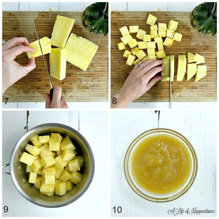 A photo collage showing how to make pineapple puree. Top left photo, cutting the pineapple away from the core. Top right photo, chopping the pineapple into one inch cubes. Bottom left photo, the pineapple cubes in a small saucepan. Bottom right photo, smooth and blended puree.