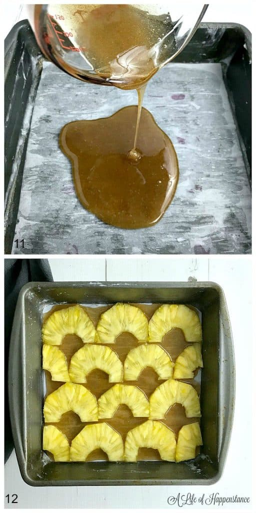A two photo collage. Top photo is of honey cinnamon sauce being poured into a parchment lined baking dish. Bottom photo is of a cake pan covered in honey cinnamon sauce and topped with fresh pineapple rings.