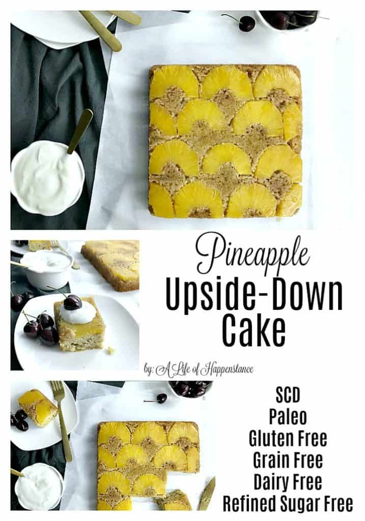 This pineapple upside down cake is made with almond flour and sweetened with honey. The cake is made from scratch and is moist, dense, and filled with fresh fruit. This easy and simple recipe is Paleo, SCD, gluten free, grain free, dairy free, and refined sugar free.