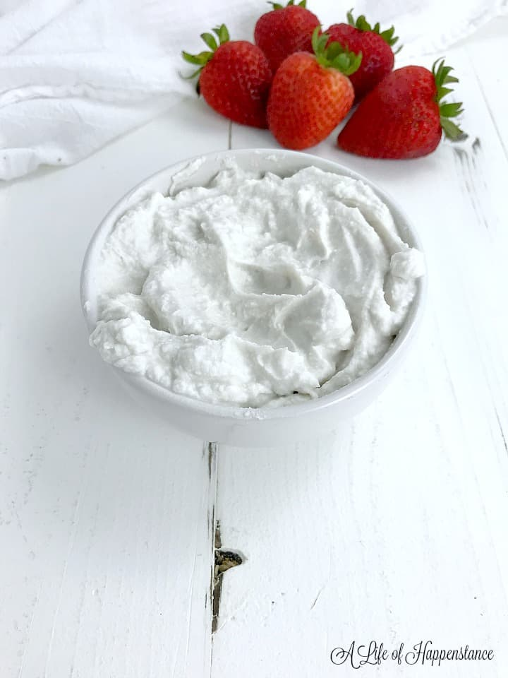 A small white bowl filled with coconut whipped cream.