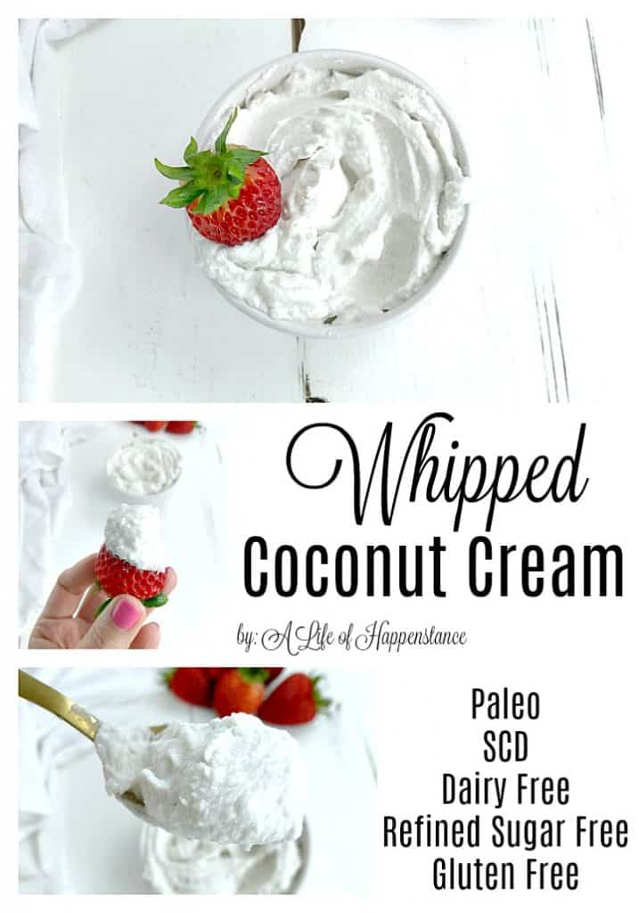 This coconut whipped cream is an easy recipe that uses just three ingredients. The coconut cream is sweetened with honey and is a perfect topping for a variety of desserts. This whipped cream is SCD and Paleo. It is gluten free, grain free, dairy free, and refined sugar free.
