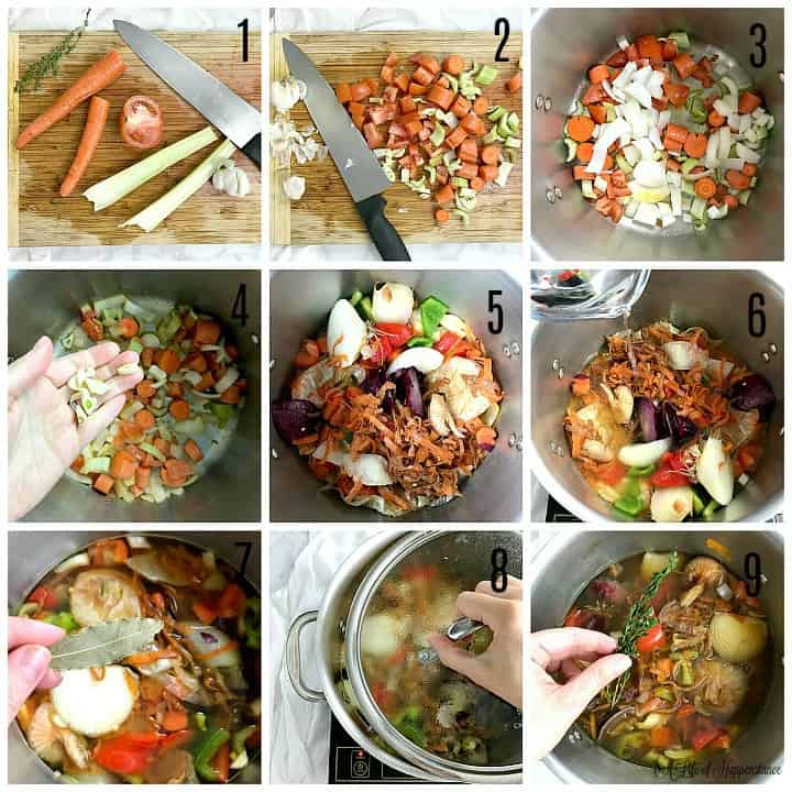 A nine photo collage. Photo 1, carrots, celery, tomato, garlic, and thyme on a cutting board. Photo 2, all the vegetables chopped. Photo 3, all the vegetables sauteing in a stock pot. Photo 4, a hand holding garlic over the pot. Photo 5, all the vegetable scraps added to the pot. photo 6, pouring water into the pot. Photo 7, adding a bay leaf to the pot. Photo 8, placing a lid on the pot. Photo 9, adding sprigs of thyme to the pot.