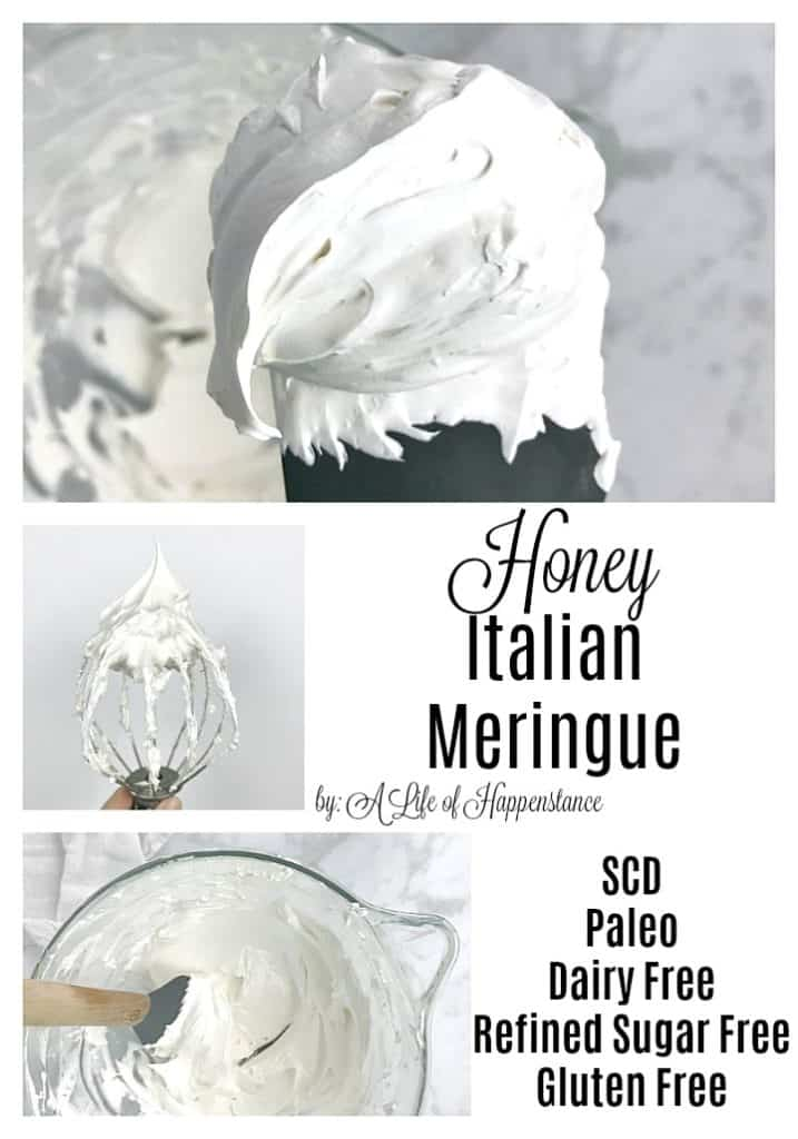 This simple and easy Italian meringue recipe has a base of egg whites and is sweetened with honey. It's perfect for topping pies, cakes, cookies, and other desserts! It's a delicious frosting that's SCD and Paleo friendly.