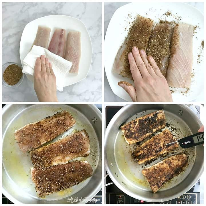 A four photo collage. Photo one, patting the mahi mahi fillets dry with a paper towel. Photo two, rubbing the seasoning on the mahi mahi. Photo three, the fish fillets searing in a fry pan. Photo four, taking the internal temperature of the fish while still in the frying pan.