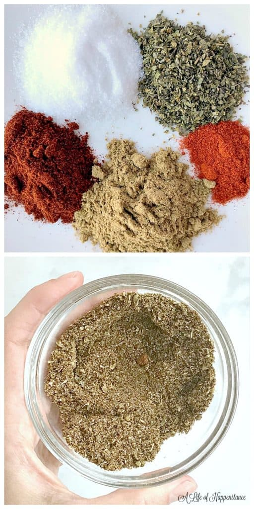 A two photo collage. Photo one, salt, paprika, cumin, chili powder, and oregano on a white plate. Photo two, all the spices combined in a small bowl.