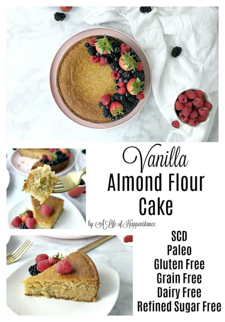 This classic vanilla cake is made with almond flour and sweetened with honey. It's an easy and simple dessert that's SCD, Paleo, gluten free, grain free, dairy free, refined sugar free, and vegetarian.