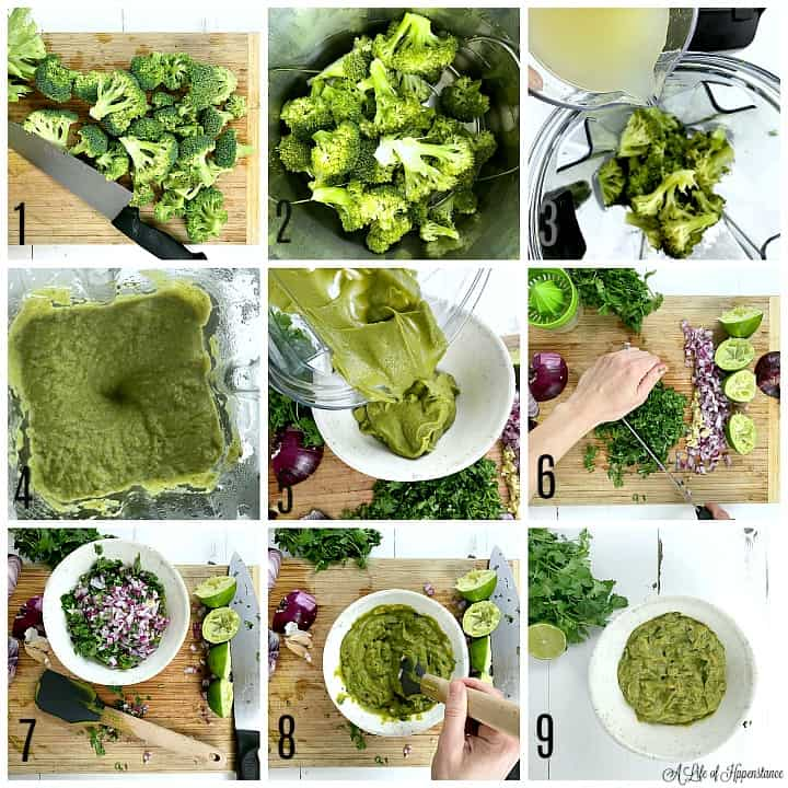 A photo collage. Photo 1, broccoli florets on a cutting board. Photo 2, steamed broccoli florets. Photo 3, broccolin in a blender jar while lemon juice is being poured in. Photo 4, blended broccoli in the blender. Photo 5, the pureed broccoli being poured into a white stone bowl. Photo 6, cilantro being chopped on a cutting board. Photo 7, chopped red onion, cilantro, and minced garlic in the bowl. Photo 8, stirring the dip ingredients together. Photo 9, the completed broccoli dip in a white bowl.