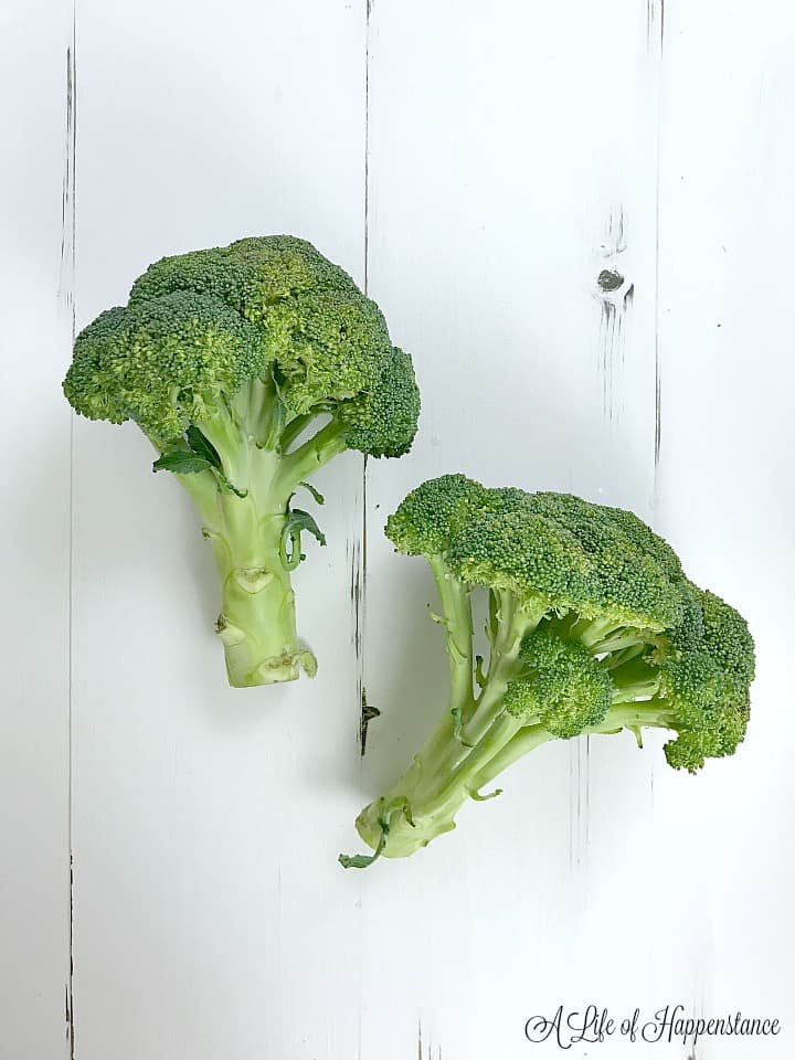 Two stalks of broccoli on a white table.