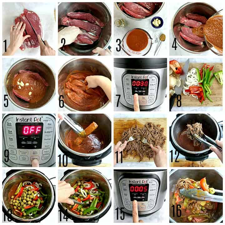 A photo collage. Photo 1, slicing flank steak into 4 chunks. Photo 2, placing the chunks of meat into the Instant Pot. Photo 3, the ingredients needed for the ropa vieja sauce. Photo 4, pouring the sauce into the bowl with the meat. Photo 5, garlic cloves added to the bowl. Photo 6, using hands to mix the meat and sauce together. Photo 7, setting the Instant Pot timer for 30 minutes. Photo 8, a cutting board with pepper and onion slices. Photo 9, canceling the Instant Pot timer. Photo 10, removing the beef from the Instant Pot using tongs. Photo 11, using forks to shred the beef. Photo 12, placing the shredded beef back into the Instant Pot. Photo 13, sliced peppers, onion, and olives added to the Instant Pot. Photo 14, using tongs to stir all the ingredients together. Photo 15, setting the Instant Pot to cook for 5 minutes manual pressure. Photo 16, using tongs to remove the finished Cuban ropa vieja from the bowl.