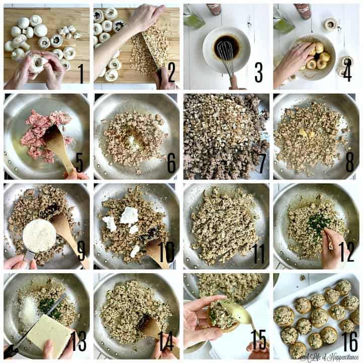 A photo collage. Photo one, removing the stems from white mushroom caps. Photo two, finely mincing the stems on a cutting board. Photo three, whisking balsamic vinegar and olive oil in a white bowl. Photo four, using hands to toss the mushrooms in the bowl with the marinade. Photo five, browning ground pork in a large skillet. Photo six, spices and herbs added to the cooked pork in the skillet. Photo seven , the finely minced mushroom stems on top of the cooked pork. Photo eight, minced garlic added to the skillet with the pork. Photo nine, a cup of almond flour about to be added to the skillet. Photo ten, farmer cheese in the skillet with the pork. Photo eleven, the ground pork and farmer cheese mixed together in the skillet. Photo twelve, adding chopped parsley to the skillet. Photo thirteen, grating Pecorino Romano cheese into the skillet. Photo fourteen, using a wooden spoon to stir the sausage mixture. Photo eighteen, using a gold spoon to stuff the sausage mixture into the marinated mushroom caps. Photo sixteen, all of the mushrrom caps stuffed with sausage and snugly in a white baking dish.
