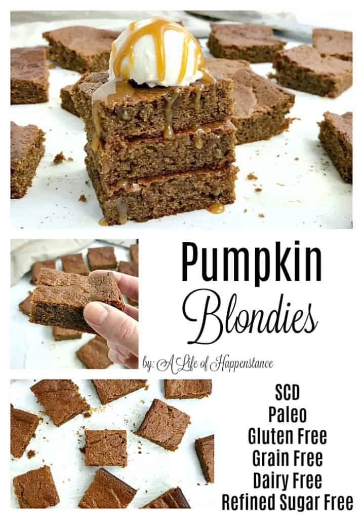 These flourless pumpkin blondies have an almond butter base and are sweetened with honey. This easy fall dessert recipe is Paleo, SCD, gluten free, grain free, dairy free, and refined sugar free.