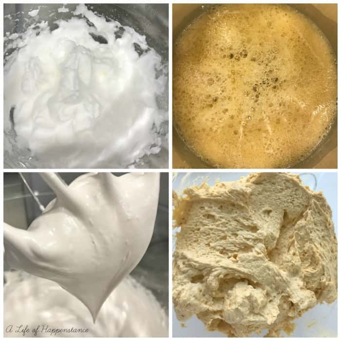 A photo collage showing how to make the buttercream. Top left, egg whites beaten into soft peaks. Top right, honey bubbly and frothy in a saucepan. Bottom left, thick and glossy meringue on a whisk. Bottom right, silky pumpkin buttercream in a glass mixing bowl.