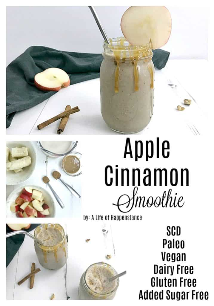 This healthy apple smoothie recipe is a simple drink that makes for an easy breakfast, or snack. It's a fall smoothie that can be enjoyed any time of year! The drink is SCD, Paleo, Vegan, dairy free, gluten free, and added sugar free.