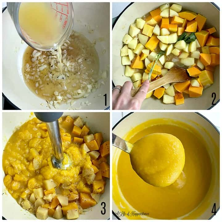 A four photo collage showing how to make the soup. Photo 1, pouring apple juice into the pot with the sauteed onions and minced garlic. Photo 2, using a wooden spoon to stir together the ingredients of the spoon. Photo 3, an immersion blender to puree the ingredients. Photo 4, a ladle filled with the pureed paleo butternut squash soup.