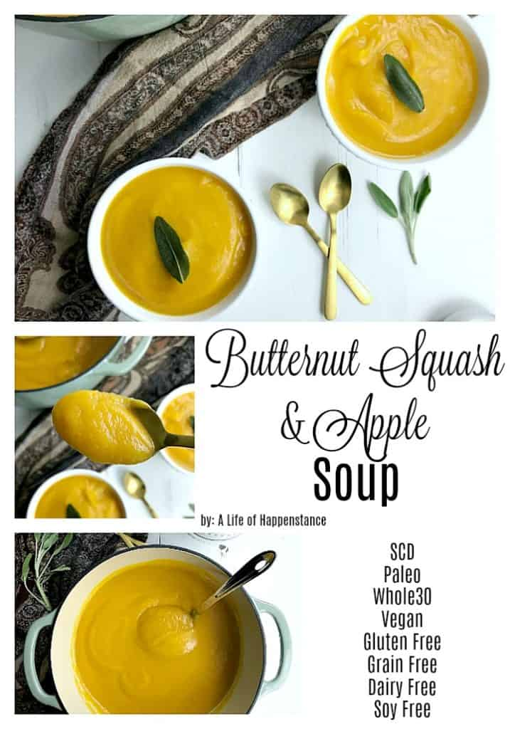 This easy butternut squash soup recipe is filled with wholesome, healthy ingredients. The apples provide a subtle sweetness to this creamy and comforting meal.  The soup is SCD, Paleo, Whole30, vegan, gluten free, grain free, dairy free, egg free, and soy free.