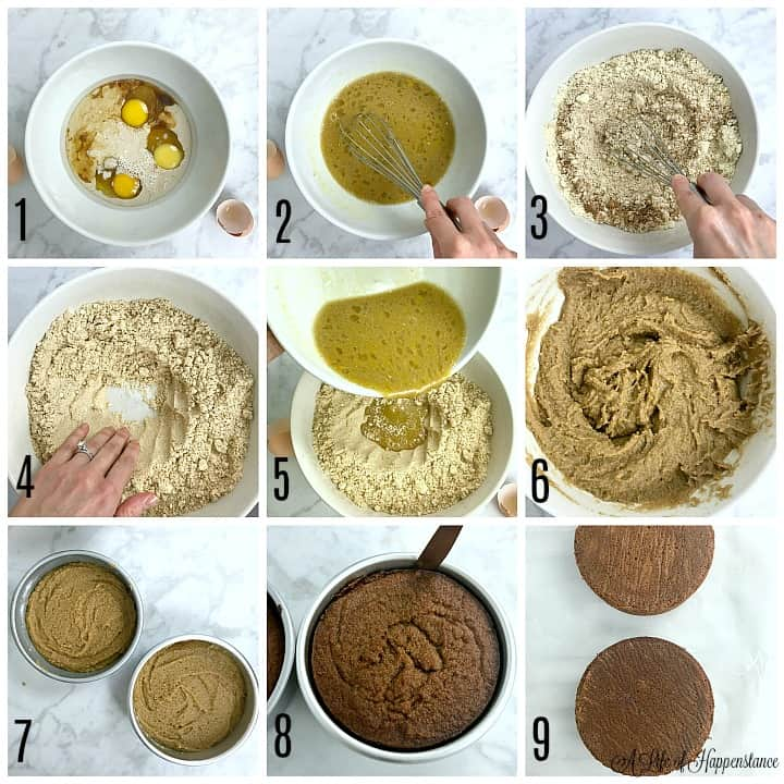 """A photo collage. Photo 1, all of the wet ingredients in a white bowl. Photo 2, whisking the wet ingredients. Photo 3, whisking the dry ingredients in a separate white bowl. Photo 4, a hand pushing the almond flour in the bowl to make a hole. Photo 5, pouring the wet ingredients into the dry. Photo 6, the batter in the bowl. Photo 7, the batter divided in two 6"""" round cake pans. Photo 8, running a knife along the edge of the cake in the pan. Photo 9, the cakes on a parchment lined cooling rack cooling."""