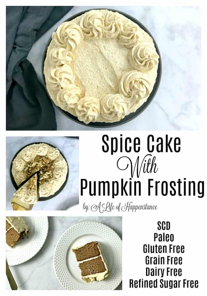 This gluten free spice cake with pumpkin frosting is dense, moist and full of  the comforting flavors you'd expect from a fall dessert! The cake has an almond flour base that's sweetened with honey while the frosting uses fresh pumpkin and coconut for a delicious and creamy topping. This recipe is SCD, Paleo, gluten free, grain free, dairy free, and refined sugar free.
