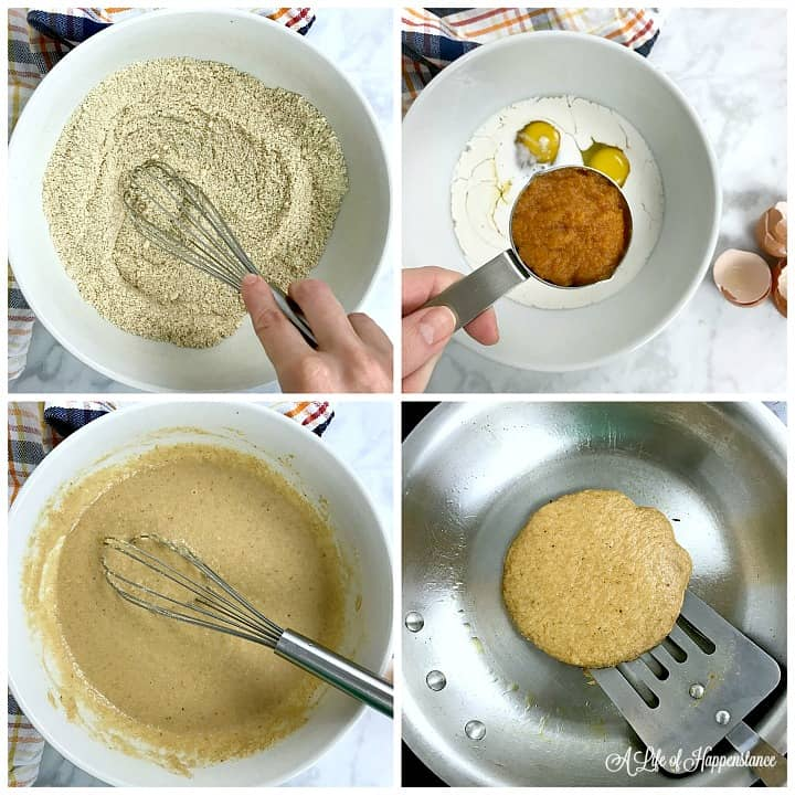 A four photo collage. Photo one, whisking the dry ingredients in a bowl. Photo two, adding pumpkin puree to a bowl filled with the wet ingredients. Photo three, all of the ingredients whisked together. Photo four, getting ready to flip a pancake with a spatula.