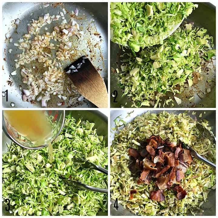 A four photo collage of how to cook the shaved brussel sprouts with bacon. Photo one, sauteing onions in the skillet. Photo two, pouring the shaved brussel sprouts into the skillet. Photo three, pouring apple cider vinegar into the sauteed sprouts. Photo four, mixing the cooked bacon into the brussel sprouts.