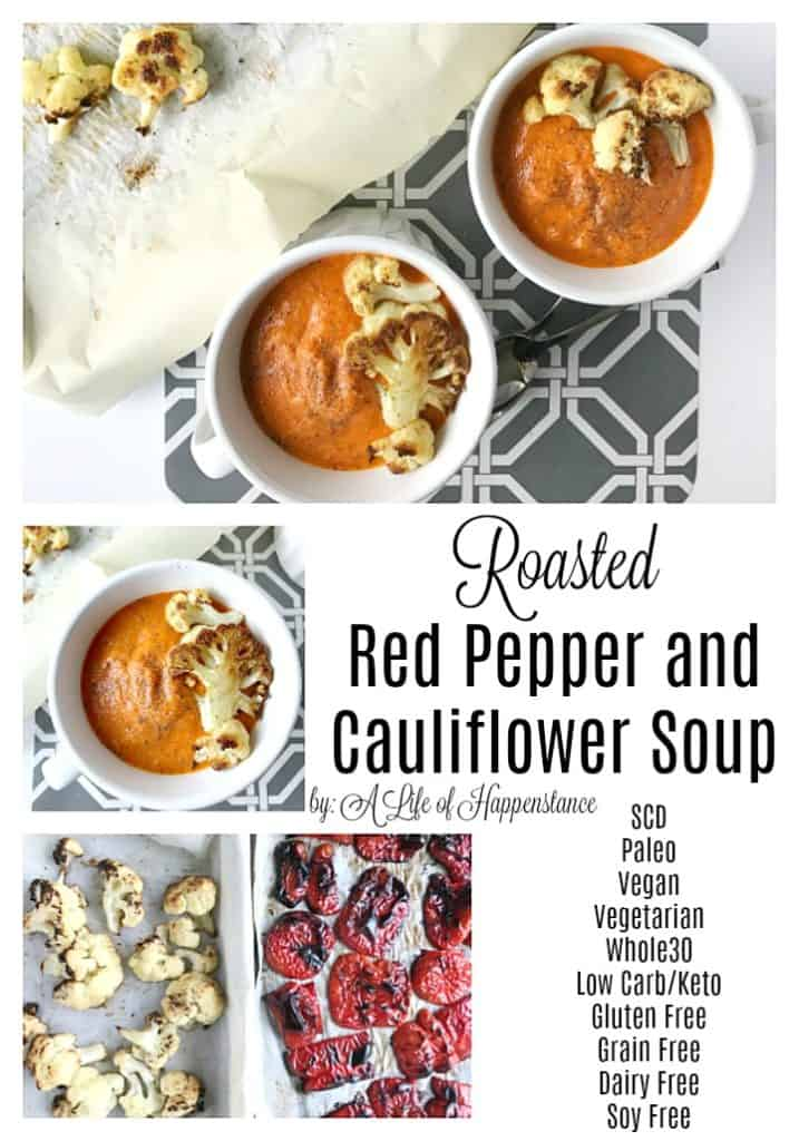 This cauliflower roasted red pepper soup recipe has a delicious smoky flavor and I love that it's not jam packed with tons of ingredients, it really allows the fresh vegetables to shine! It's a simple soup that's SCD (specific carbohydrate diet), Paleo, Whole30, vegan, gluten free, grain free, dairy free, and soy free.