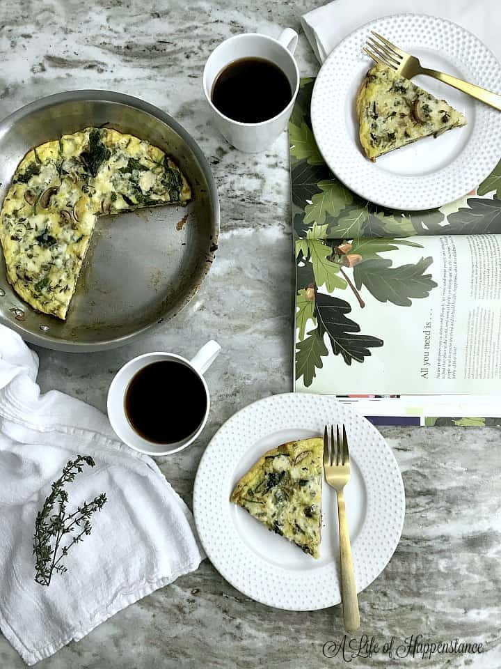 Slices of frittata on white plates.