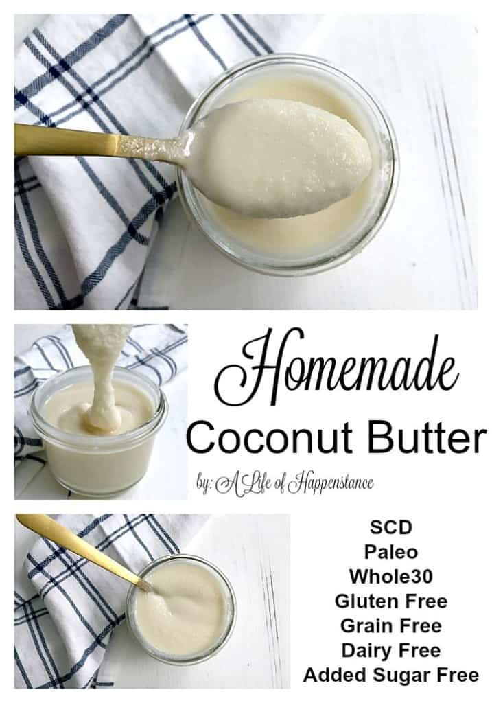 Homemade coconut butter is a pantry staple that uses just one ingredient and takes only fifteen minutes to make! It's an easy and inexpensive way to enjoy this decadent treat. This coconut butter recipe is SCD, Paleo, Whole30, vegan, gluten free, grain free, dairy free, egg free, soy free, and free of added sugar!