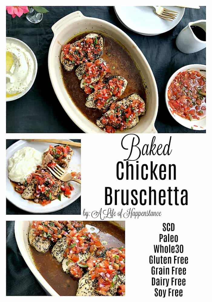 Baked chicken bruschetta has a fresh, flavorful tomato topping and is drizzled with a sweet balsamic vinegar glaze! It's an easy and healthy dinner recipe that's SCD, Paleo, and Whole30. It's also free of gluten, grains, dairy, soy, and added sugar.