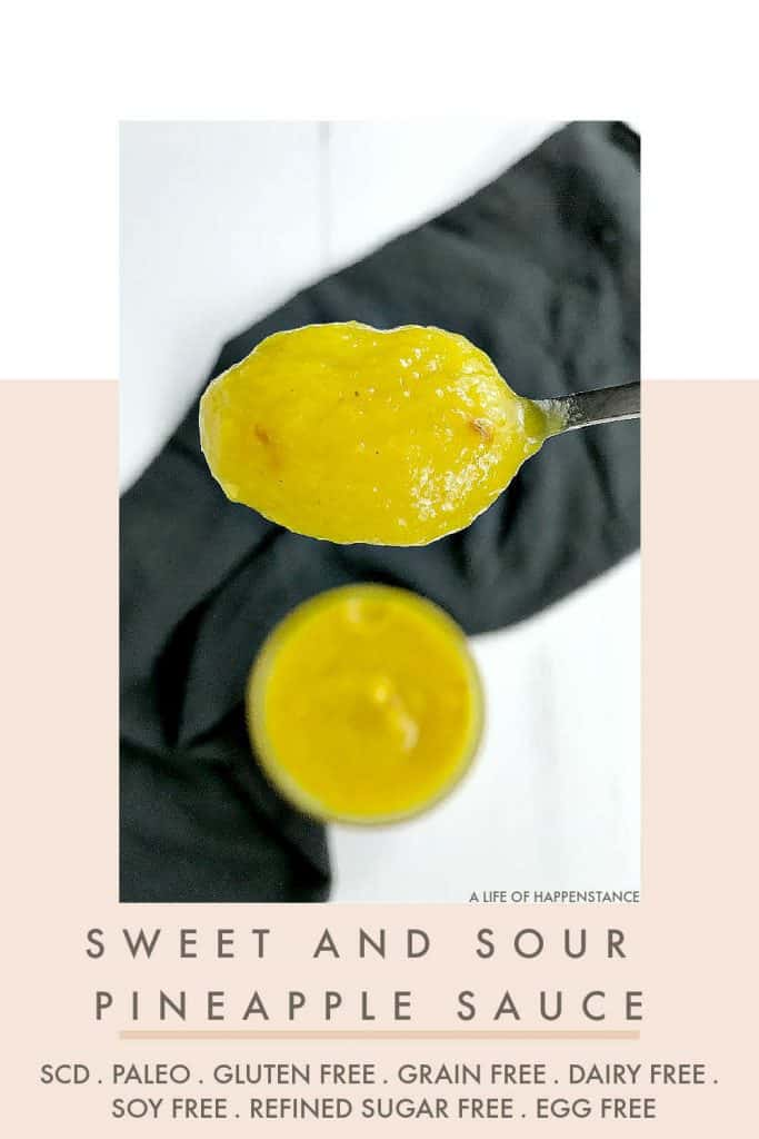 This sweet and sour pineapple sauce recipe is a healthy take on a classic Chinese takeout staple! It's an easy recipe using anti-inflammatory spices that's SCD, Paleo, gluten free, grain free, dairy free, soy free, egg free, and refined sugar free.