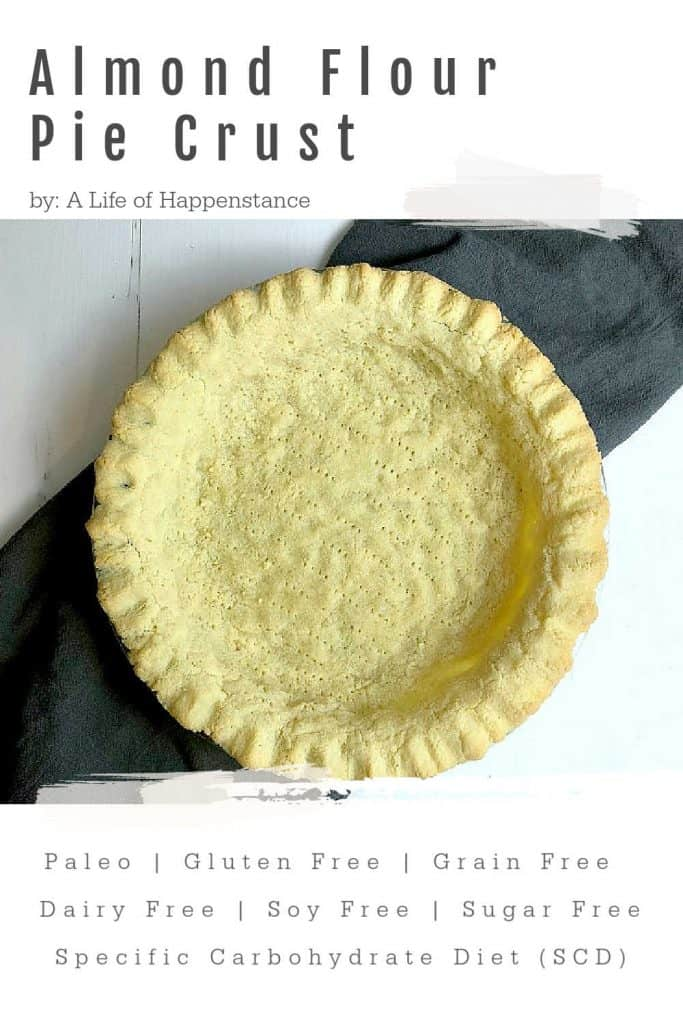 An easy almond flour pie crust recipe is a baking staple! This simple crust is just 4 ingredients AND it won't fall apart on you! The crust can be used to make quiche, taco pie, or filled with your choice of fruit filling! The recipe is SCD, Paleo, gluten free, grain free, dairy free, soy free, and added sugar free.