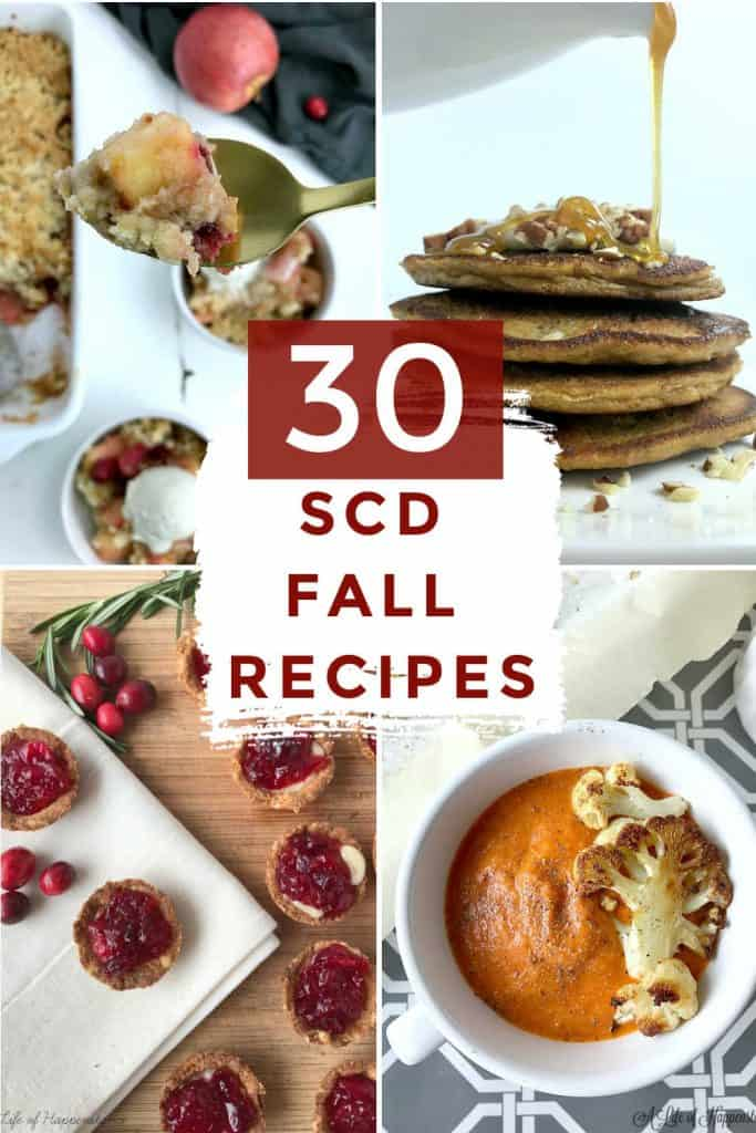 These healthy autumn recipes all follow the Specific Carbohydrate Diet (SCD) and are gluten free, grain free, soy free, refined sugar free, and low lactose. Many of the 30 recipes are also dairy free, Paleo, or Whole30. These fall recipes include breakfast, dinner, side dishes, snacks, appetizers, and desserts.