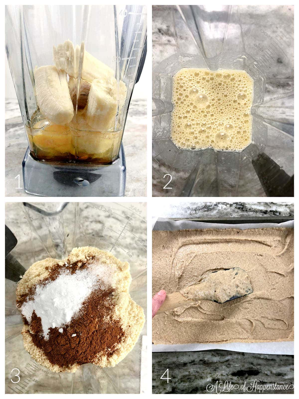 A four photo collage showing how to make the banana bar batter. Photo 1; all of the wet ingredients in a blender. Photo 2; the wet ingredients frothy. Photo 3; the dry ingredients added to the blender. Photo 4; smoothing the batter in the baking pan.