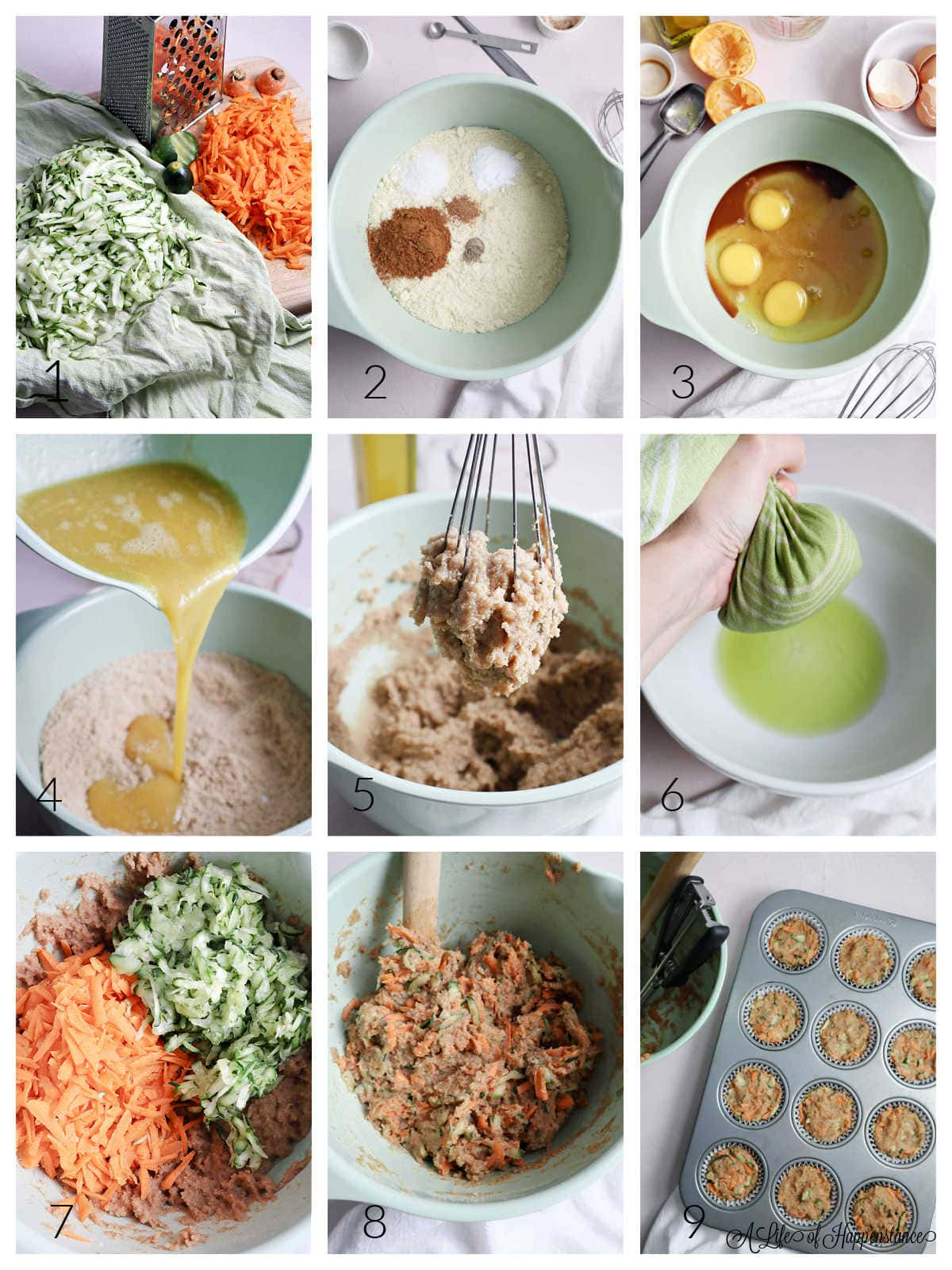 A nine photo collage showing how to make the muffins. Photo 1; shredded zucchini and carrots on a cutting board. Photo 2; dry ingredients in a mint green mixing bowl. Photo 3; wet ingredients in a mint green mixing bowl. Photo 4; pouring the wet ingredients into the bowl with the dry ingredients. Photo 5; the batter in a whisk. Photo 6; squeezing the liquid from the shredded zucchini. Photo 7; the shredded zucchini and carrots in the mixing bowl with the batter. Photo 8; the vegetables mixed into the batter. Photo 9; lined muffin tine filled almost to the top with the batter.