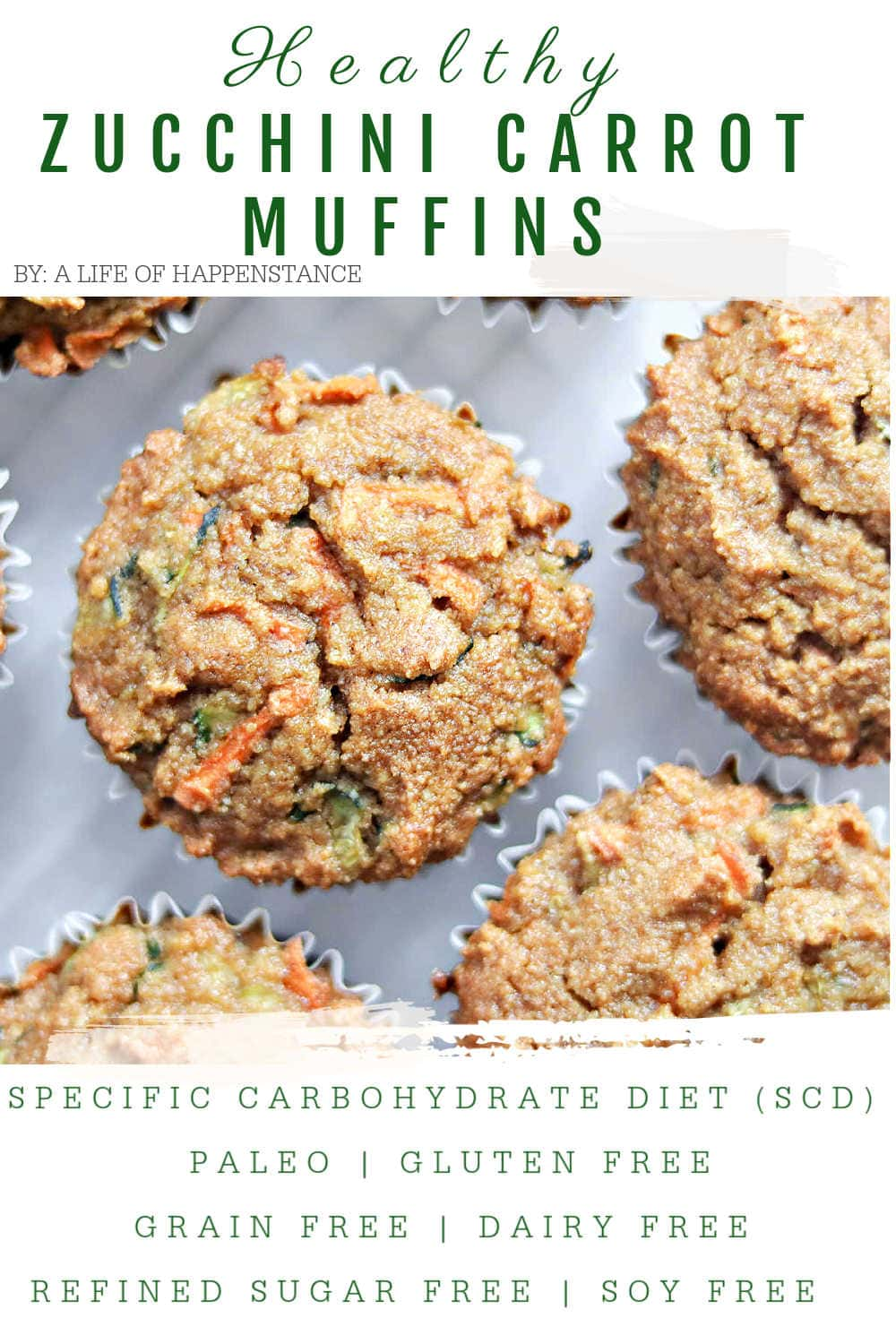 These healthy zucchini carrot muffins are made with almond flour, packed with veggies, and very lightly sweetened with honey. They're perfect for a snack or quick breakfast and are SCD, paleo, gluten free, grain free, dairy free, and refined sugar free.