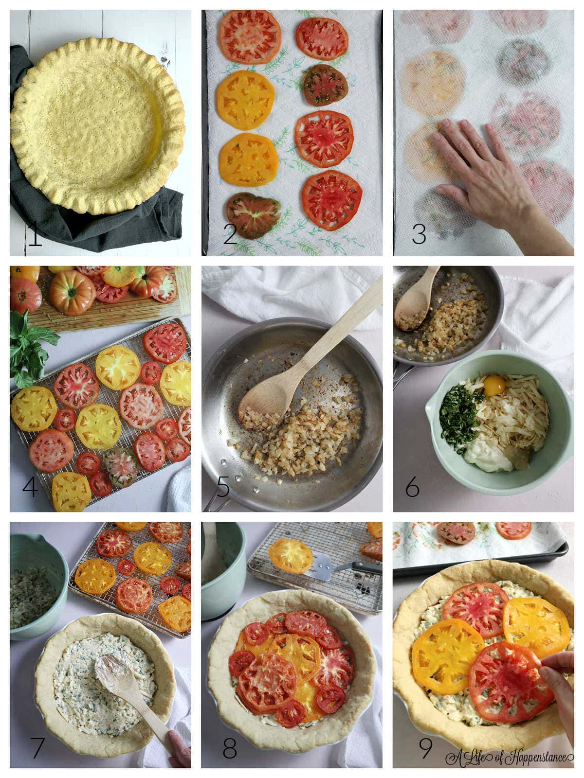 A nine photo collage showing how to make the tomato pie. Photo 1; a prebaked almond flour pie crust cooling on a grey kitchen towel. Photo 2; sliced tomatoes on a paper towel lined baking sheet. Photo 3; pressing additional paper towels on the tomatoes. Photo 4; sliced tomatoes arranged in a single layer on a wire rack. Photo 5; cooked onions and garlic in a skillet. Photo 6; the filling ingredients in a mint green bowl. Photo 7; using a wooden spoon to spread half of the filling mixture in the pie crust. Photo 8; roasted tomatoes arranged on top of the filling. Photo 9; placing fresh tomatoes on top of the second layer of filling.