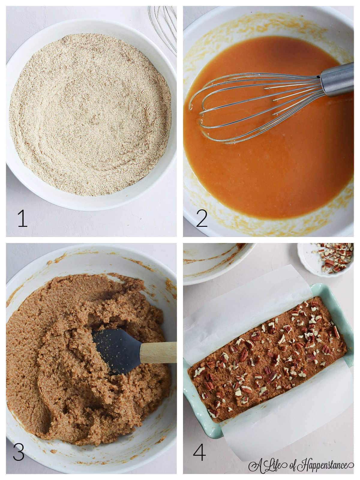 A four photo collage showing how to make the paleo pumpkin bread recipe. Photo one; dry ingredients in a white bowl. Photo two; wet ingredients in a white bowl with a silver whisk. photo three; the mixed batter in a white bowl. Photo four; the batter in a loaf pan with chopped pecans sprinkled on top.