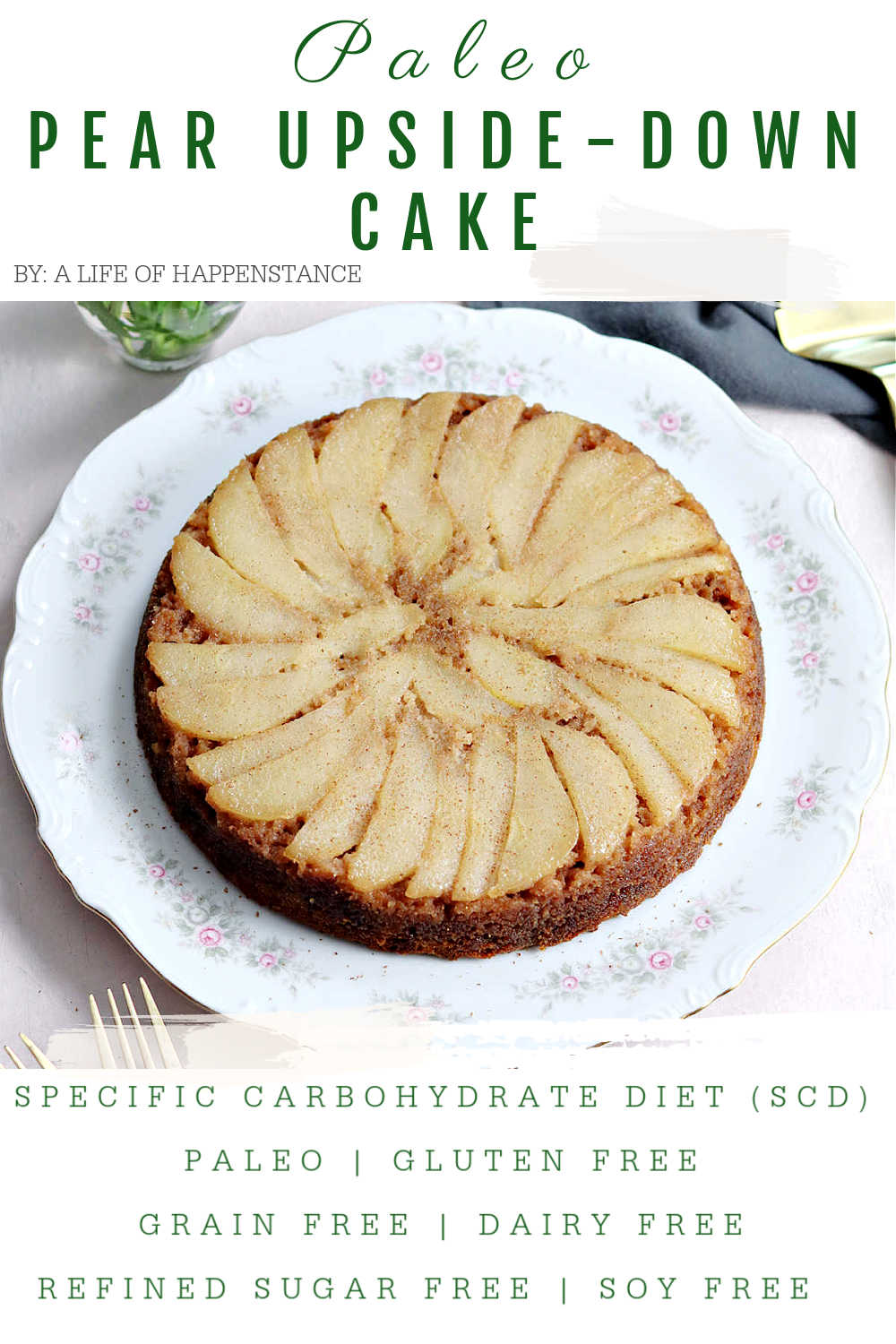 This upside-down paleo pear cake is incredibly moist, flavored with juicy pears, and spiced with cinnamon and ginger. It's a simple and beautiful fall cake recipe that's SCD, paleo, gluten free, grain free, dairy free, and refined sugar free.