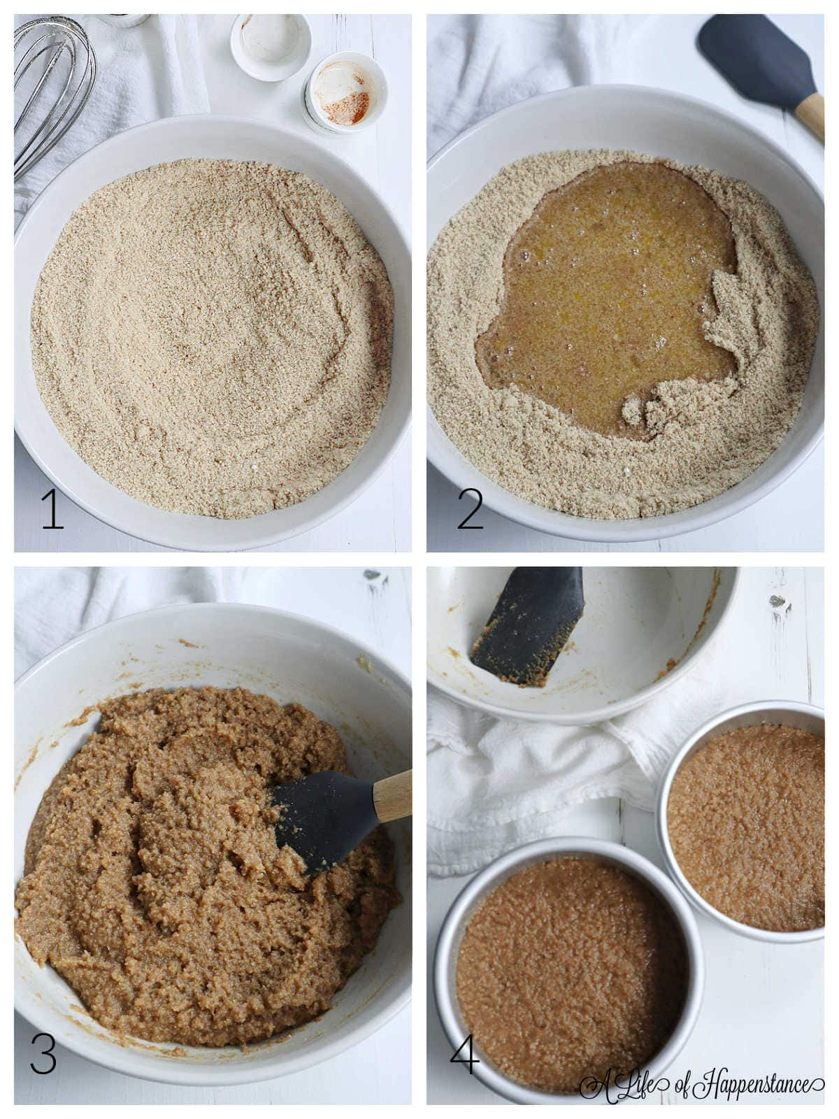 A four photo collage showing how to make the apple cider cake. Photo one; the dry ingredients in a white bowl. Photo two; the wet ingredients in the bowl with the dry ingredients. Photo three; the batter mixed and in a white bowl. Photo four; the batter in two round cake pans.